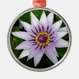 Lotus Flower Round Metal Christmas Ornament