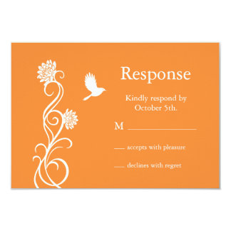 Lotus Flower RSVP (bright orange) 3.5x5 Paper Invitation Card