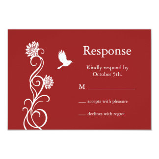 Lotus Flower RSVP (red) Card