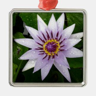 Lotus Flower Square Metal Christmas Ornament
