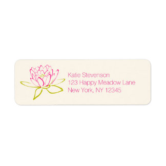 Lotus Flower / Water Lily Illustration Label