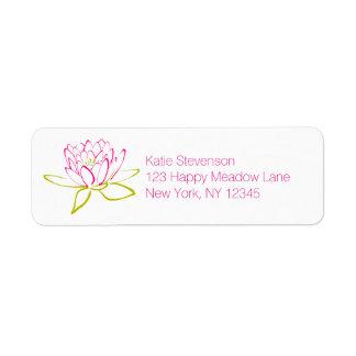 Lotus Flower / Water Lily Illustration Label