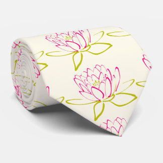 Lotus Flower / Water Lily Illustration Neck Tie