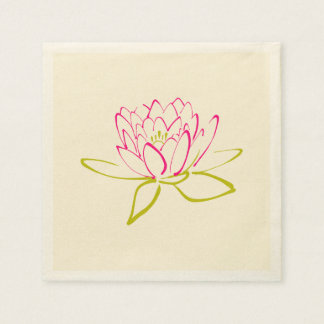 Lotus Flower / Water Lily Illustration Paper Napkin