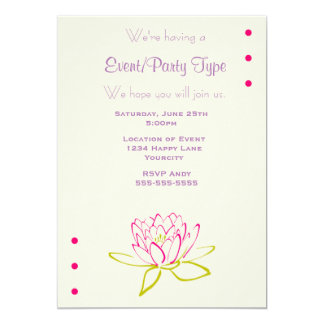 Lotus Flower / Water Lily Party 5x7 Paper Invitation Card