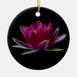 Lotus Flower Water Plant Double-Sided Ceramic Round Christmas Ornament