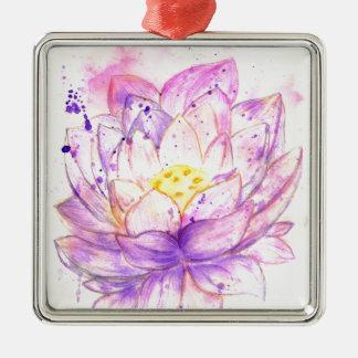 Lotus Flower Watercolor 4 Metal Ornament