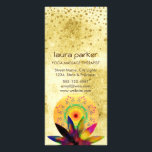 """Lotus Flower Watercolor Healing Holistic Health Rack Card<br><div class=""""desc"""">This rainbow watercolor lotus flower with golden dots confetti over lotus flower petals on mandala art with moon shape circular represents holistic and mental health peace with cure.  This card can be very suitable in profession of  spa,  beauty,  holistic,  meditation,  yoga professionals</div>"""