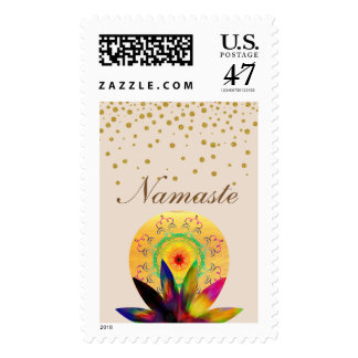 Lotus Flower Watercolor Healing Therapy Yoga Postage
