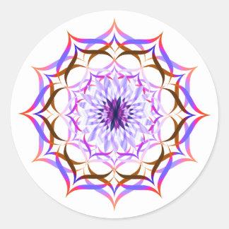 Lotus Flower Watercolor  Mandala Healing Yoga Classic Round Sticker