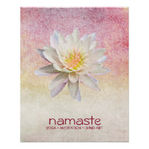 Lotus Flower Watercolor Namaste Yoga Meditation Poster