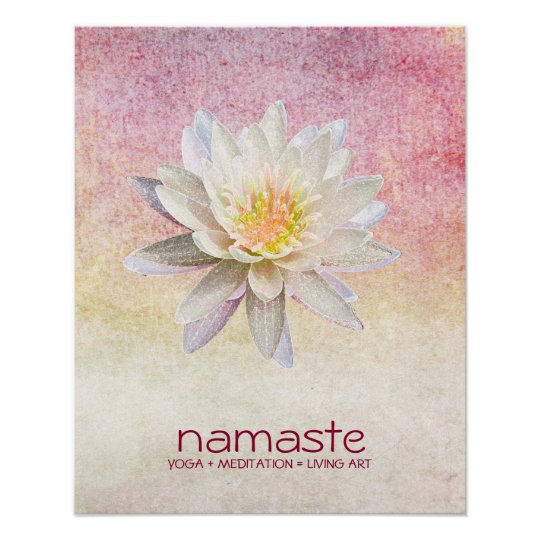 Lotus Flower Watercolor Namaste Yoga Meditation Poster Zazzlecom