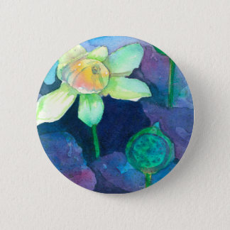 Lotus Flower Watercolor Painting Button