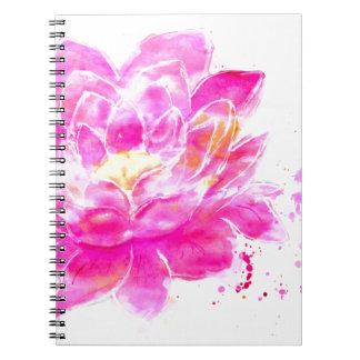 Lotus Flower Watercolor Spiral Notebook