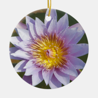 Lotus Flower/Waterlily Double-Sided Ceramic Round Christmas Ornament