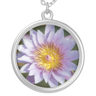 Lotus Flower/Waterlily Silver Plated Necklace