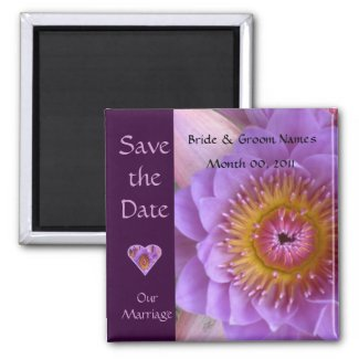 Lotus Flower Wedding Save The Date Magnet