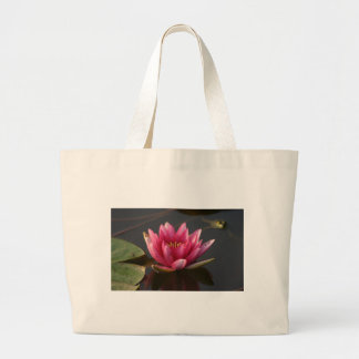 Lotus flower with frog large tote bag