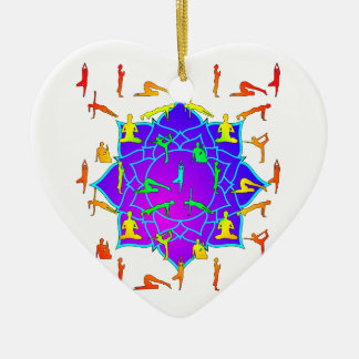 Lotus Flower With Yoga Positions Ceramic Ornament