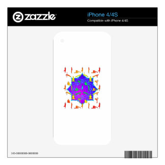Lotus Flower With Yoga Positions Decals For iPhone 4S