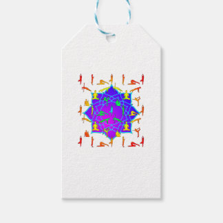 Lotus Flower With Yoga Positions Gift Tags
