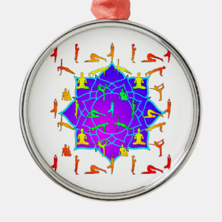 Lotus Flower With Yoga Positions Metal Ornament