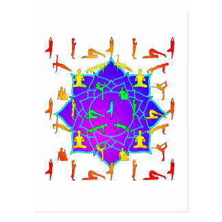 Lotus Flower With Yoga Positions Postcard