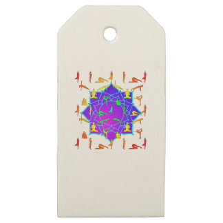 Lotus Flower With Yoga Positions Wooden Gift Tags