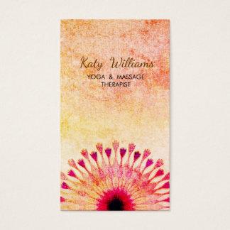 Lotus Flower Yoga Instructor Meditation Red Orange Business Card