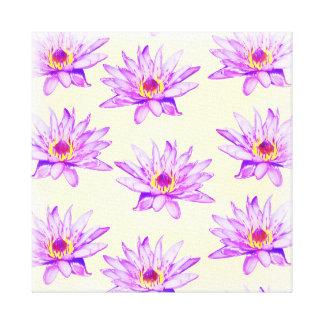 lotus flowers cream inky canvas print