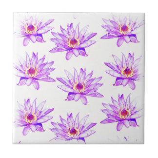 lotus flowers cream inky ceramic tile