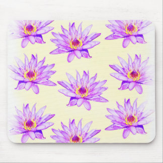 lotus flowers cream inky mouse pad