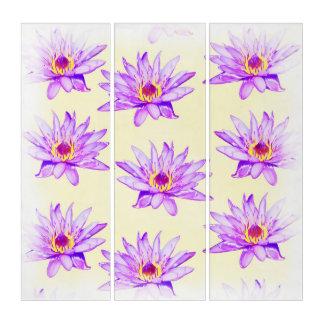 lotus flowers cream inky triptych