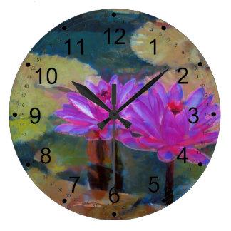 Lotus Flowers in Bloom Wall Clocks