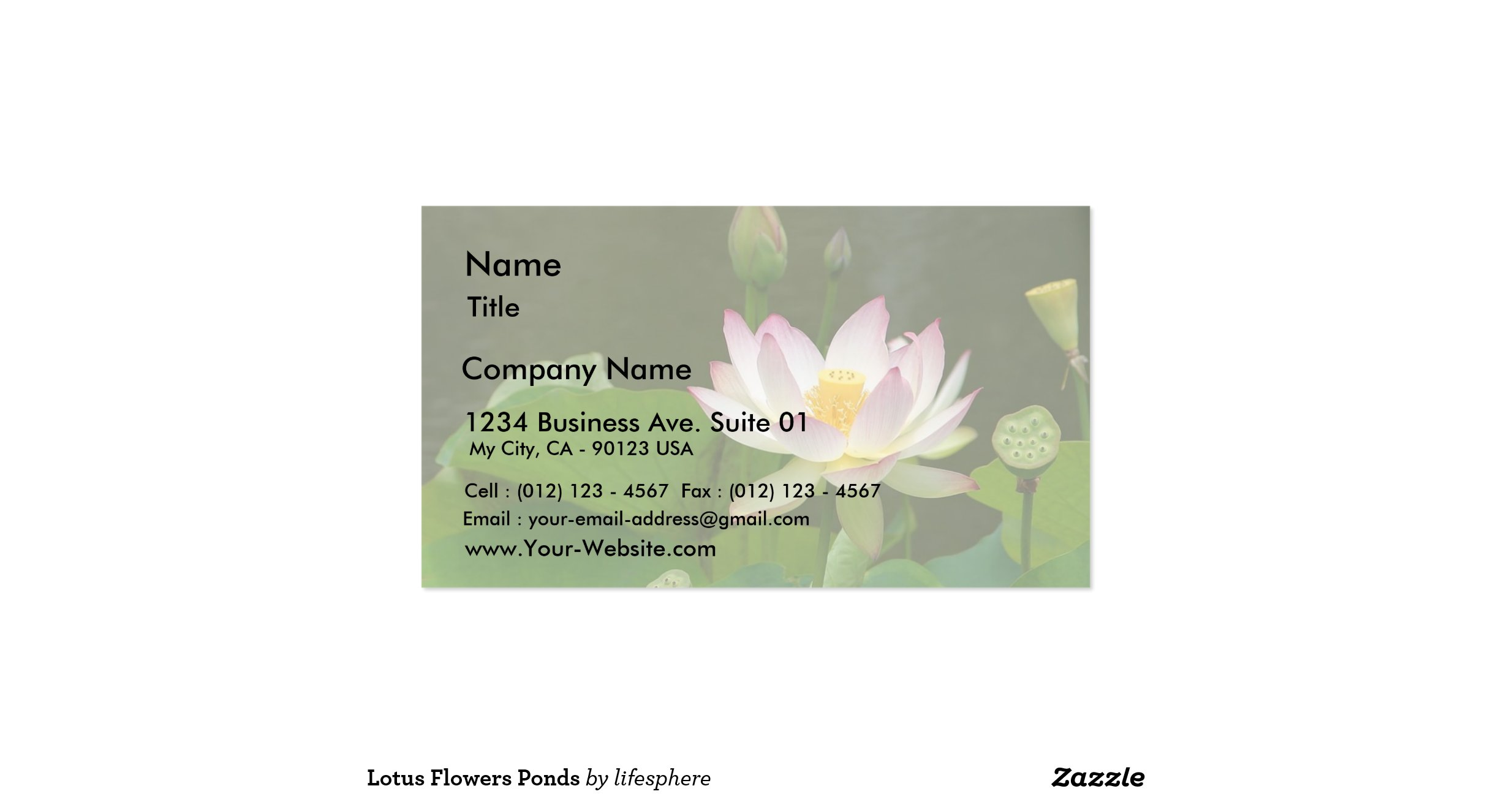 Lotus Flowers Ponds Double Sided Standard Business Cards