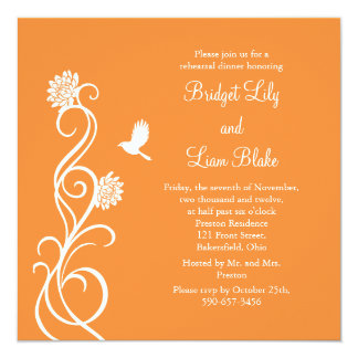Lotus Flowers Rehearsal Dinner (bright orange) Invitation