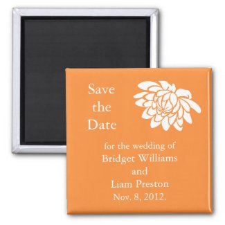 Lotus Flowers Save the Date Magnet (bright orange)