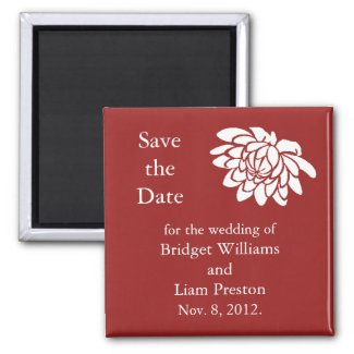 Lotus Flowers Save the Date Magnet (red)