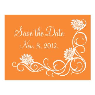 Lotus Flowers Save the Date Postcard-bright orange