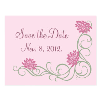 Lotus Flowers Save the Date Postcard (pink)