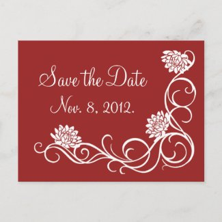 Lotus Flowers Save the Date Postcard (red)