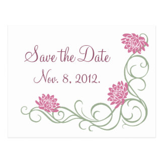 Lotus Flowers Save the Date Postcard (white)