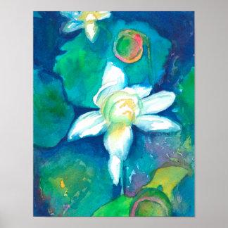 Lotus Flowers Watercolor Painting Poster
