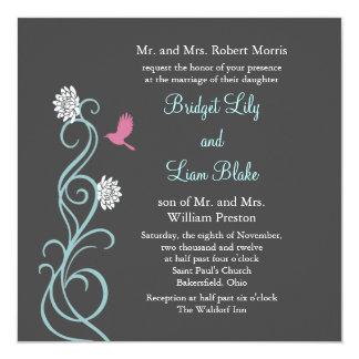 Lotus Flowers Wedding Invitation (gray)