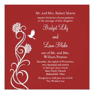 Lotus Flowers Wedding Invitation (red)