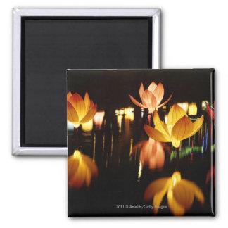 Lotus formó las linternas para el mediados de fest imán cuadrado