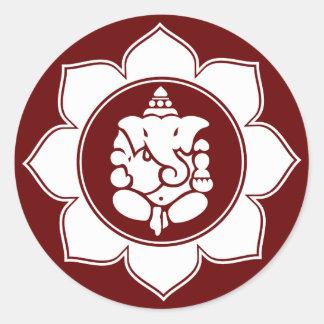 Lotus Ganesha Classic Round Sticker