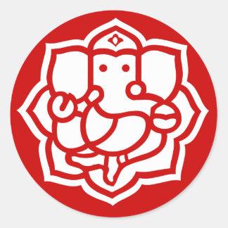 Lotus Ganesha Design Classic Round Sticker