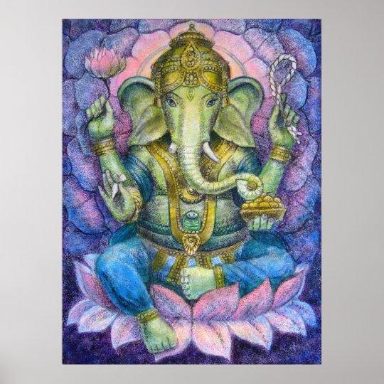Hindu Poster Art: Lotus Ganesha Hindu Art Poster