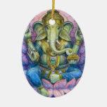 Lotus Ganesha Oval Christmas Ornament